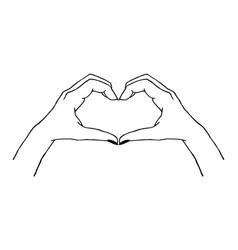 Trendy gesture - heart made with hands vector