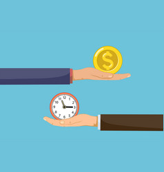 two businessmen are holding clock and money vector image