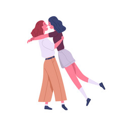 Two enamored lesbian girl hugging enjoy meeting vector
