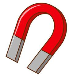 U shaped horseshoe magnet on white background vector