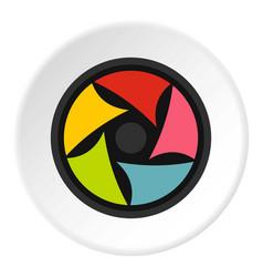 Video lens icon circle vector