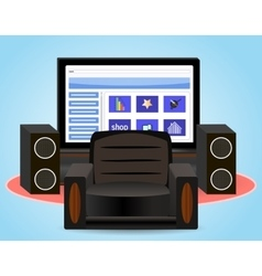 Watching TV in the chair vector