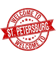 Welcome to St Petersburg red round ribbon stamp vector