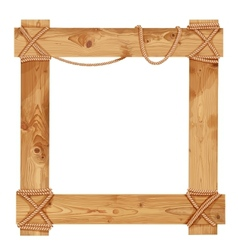 Wooden frame fastened together with ropes vector