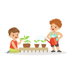 cute little boys caring for plants during lesson vector image vector image