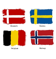 European grunge flags Flags of Denmark Sweden vector image