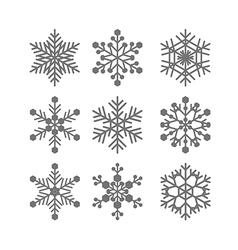 Flat snowflakes set vector image