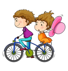 Lovers riding a bike vector image vector image