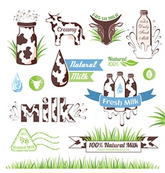 Milk icons labels and design elements vector