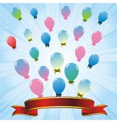 balloons blue ribbon vector image