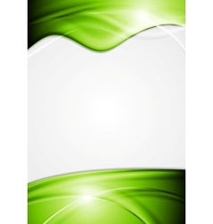 Bright flyer with green waves vector