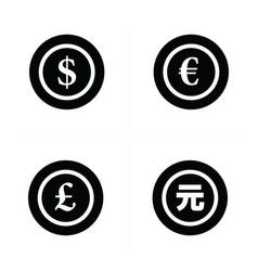 coins icon dollars euro pound yuan vector image