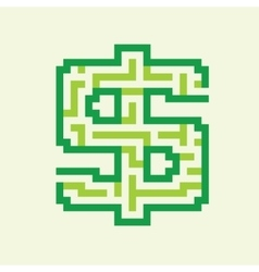 Dollar business flat green maze vector image vector image