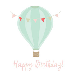 happy birthday card with banner and air balloon vector image vector image