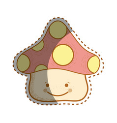 Kawaii happy fangus with eyes and mouth vector