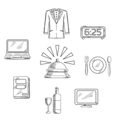 Luxury hotel service icons and symbols vector image