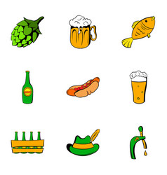 bavarian oktoberfest icons set cartoon style vector image vector image