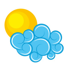 blue cloud and sun climate cartoon image vector image vector image