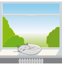 Cat sleeps on window sill vector