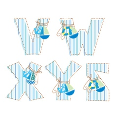 Fabric patchwork alhabet letter v w x y z vector
