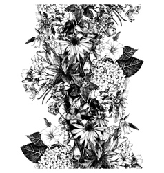 Hand drawn seamless border with flowers vector image