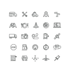 Travel road traffic and location line vector image vector image