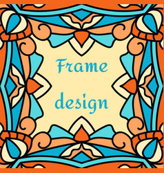 a frame with a beautiful oriental ornament vector image vector image
