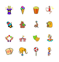 Circus comics icons set cartoon vector
