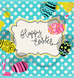 Happy easter retro greeting card with vintage vector
