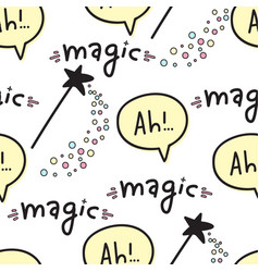 seamless pattern with magic wands fantasy and vector image