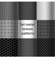 Set of metal texture seamless patterns vector image