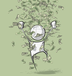 Simple People Money Rain vector image