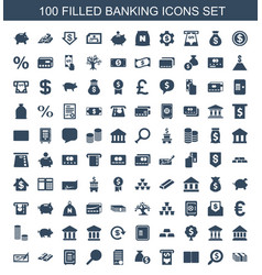 100 banking icons vector