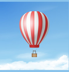 3d realistic white and red hot air balloon vector
