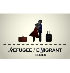A man hugs a girl with suitcases after a trip vector image