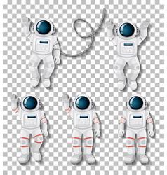 Astronaut cartoon character set on transparent vector