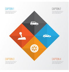 Auto icons set collection of stick crossover vector