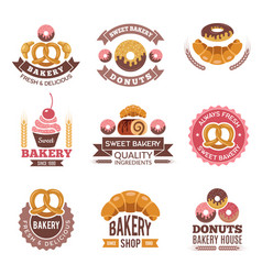 bakery shop logo donuts cookies fresh food vector image