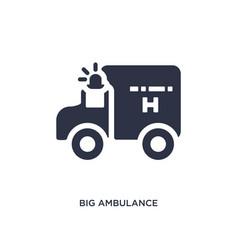 Big ambulance facing left icon on white vector