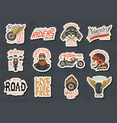 Biker club stickers templates vintage custom vector