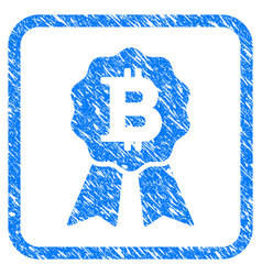 bitcoin certificate seal framed stamp vector image