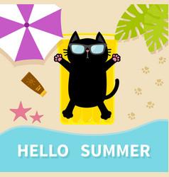 Black cat sunbathing on the beach yellow air pool vector