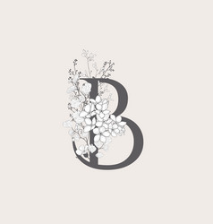 Blooming floral initial b monogram and logo vector