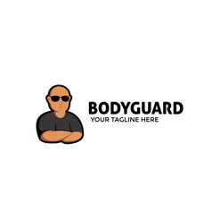 Bodyguard mascot logo with bald muscular vector