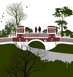 Boy and girl holding hands on the bridge vector