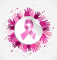 Breast cancer awareness ribbon hand social badge vector image