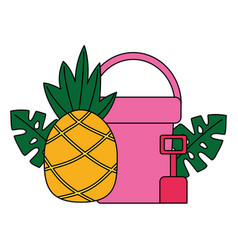 bucket and shovel pineapple tropical summer vector image