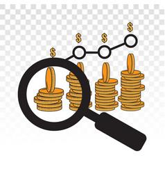 Business financial research view bar graph flat vector