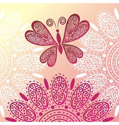 Butterfly and flowers vector
