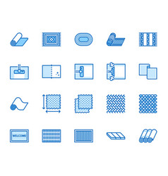 Carpet cleaning flat line icons set rug steaming vector